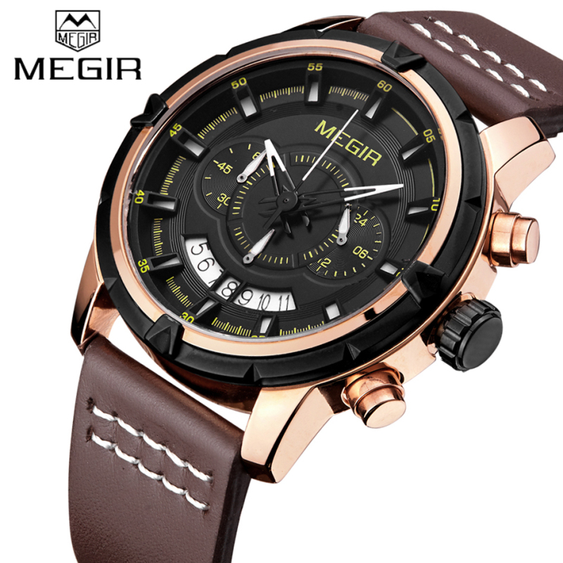 Watches Men MEGIR Luxury Brand Chronograph Men Sports Watches Leather Strap Male Quartz Military Wrist watch Relogio Masculino степной закат page 9