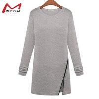 Для женщин модная футболка на молнии уличная зима-осень Для женщин Топы корректирующие с круглым вырезом хлопок длинный рукав длинный Для ж...