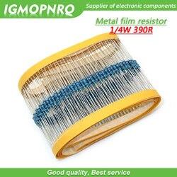 100pcs resistor de filme de Metal anel de Cinco cores de Tecelagem 1/390R 4W 0.25W 1% 390 ohm 390ohm