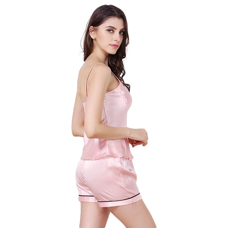 dc2360e024 New Arrival 100% High Grade Silk Satin Women Pajama Sets Chemises Slip  Sleepwear Pajamas with Short Pants sp0044-in Pajama Sets from Underwear    Sleepwears ...