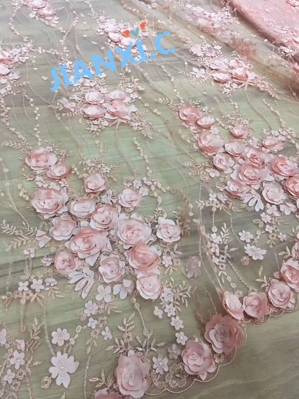 Fashion 5 yards Nigeria Lace Fabric david 91503 African Tulle French Fabric 3d flower Embroidered Tulle