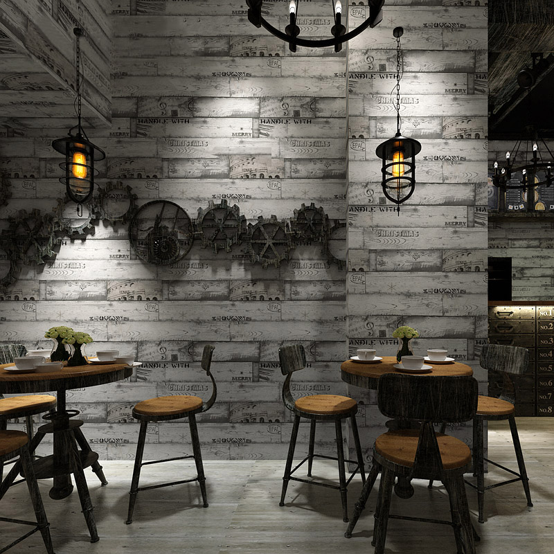 Non-Woven Wallpaper Roll Modern Vintage Wood Board Texture Wall Paper For Walls 3D Restaurant Cafe Vintage Background Wall Decor