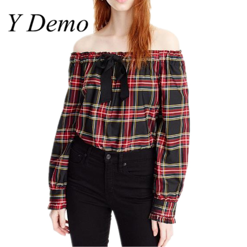 Y Demo Fashion vintage Grid Sexy Off Shoulder Straps Bow Women Summer Shirts Tops