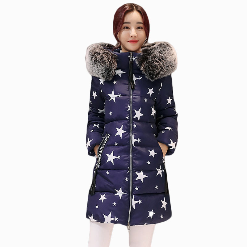 2017 NEW HOT SALE WOMEN WINTER JACKER MID-LENGTH LARGE FUR COLLAR HOODED THICKEN WARM FEMALE PARKAS COTTON WADDED ZL589