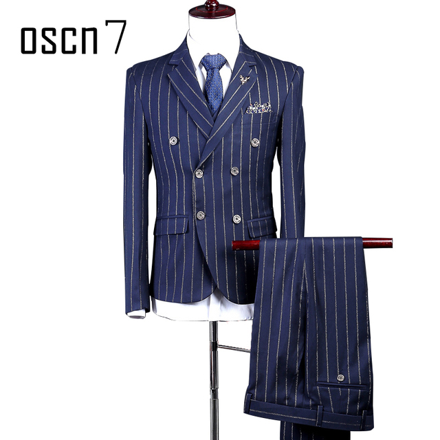 OSCN7 Rayé Imprimé Double Breased Costume Hommes Sur Mesure Bleu Marine  Mariage Costume Hommes Mode Costume 48cb347f4b7