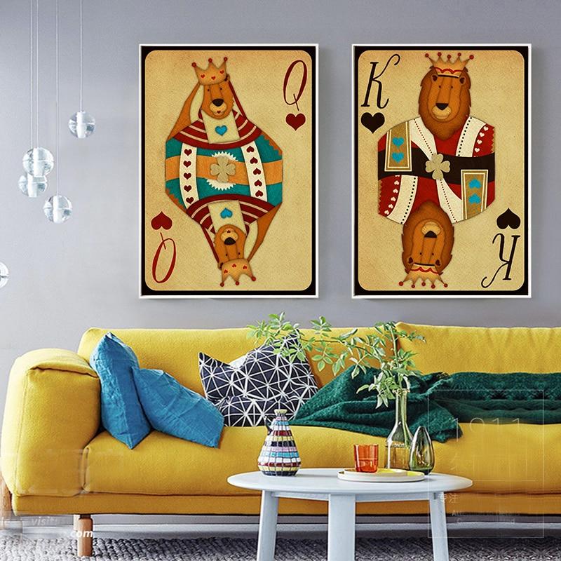 Modern Wall Decoration King Queen Poker Cards Cartoon Lion Novel ...