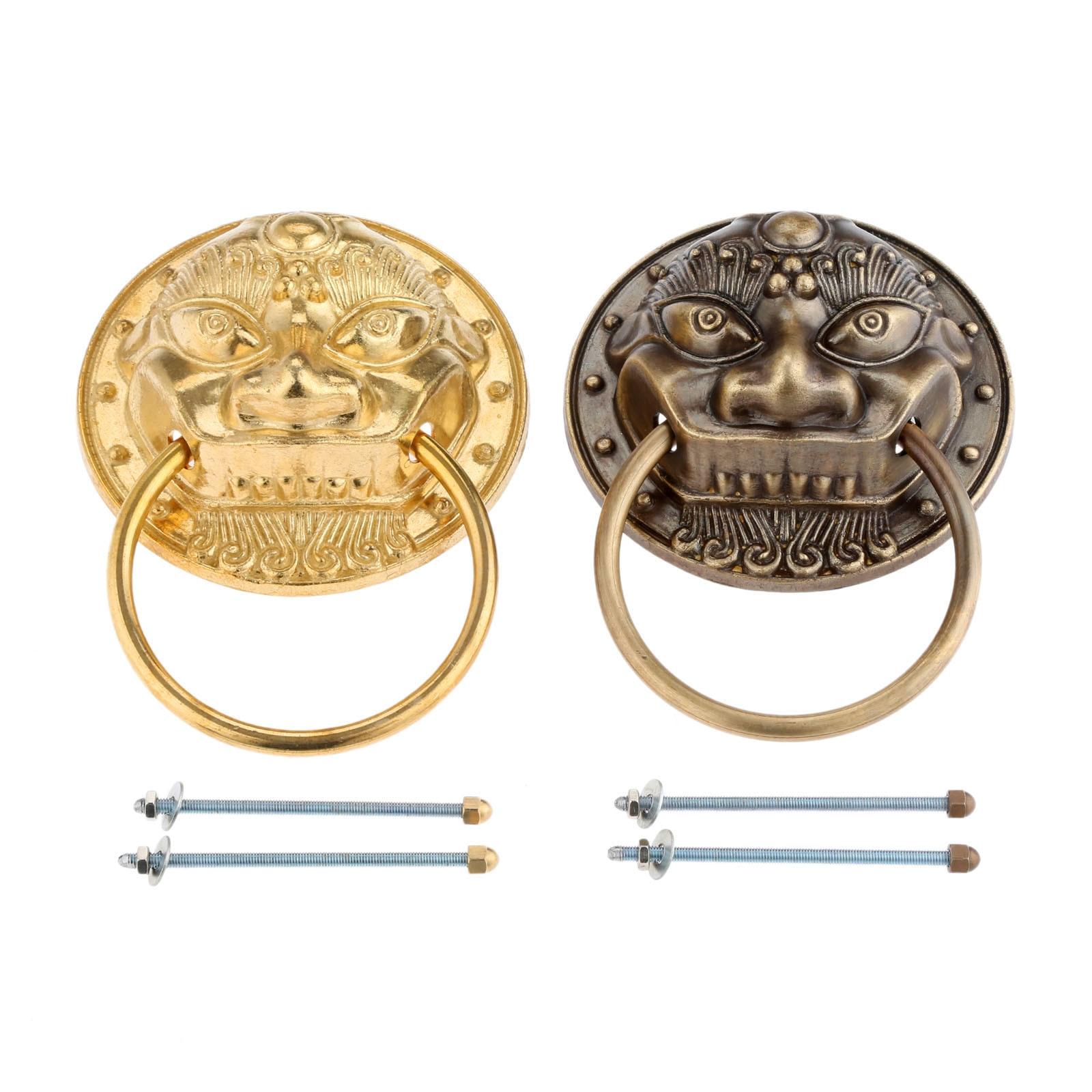 DRELD 1Pc 14cm Antique Brass Chinese Furniture Handle Pull Knocker Brass Hardware Vintage Lion Head Door Cabinet Pull Ring Knob