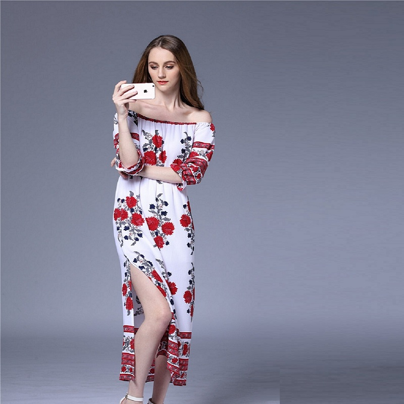 bohemian beach dress 2018 fashion new summer dress word shoulder printing elastic waist split long maxi dress dress vestidos