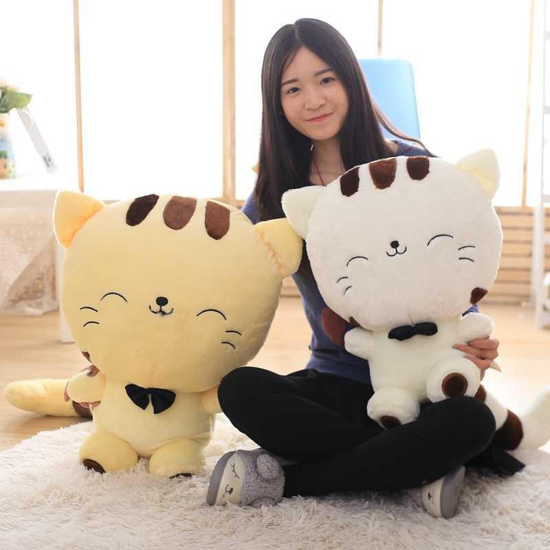Yeni Sıcak 45 CM Güzel Büyük Yüz Gülen Kedi doldurulmuş hayvan peluş oyuncaklar Brinquedos En Iyi Noel Doğum Günü Hediyeleri Çocuklar için toptan