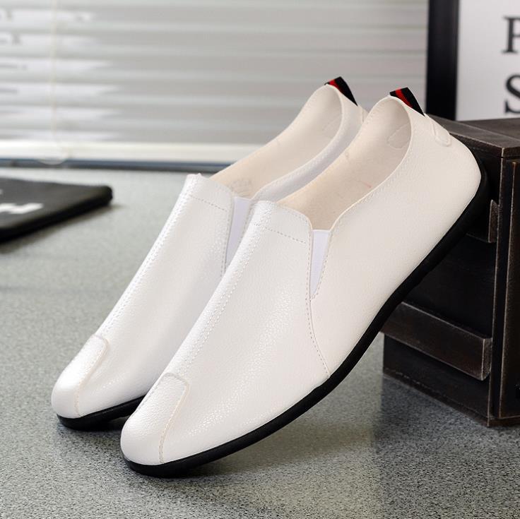 Pu En Paresseux Cuir Une Automne Pédale Hommes Casual blanc Mode Nouvelle Chaussures Noir orange Pois Tendance De OwOPx7Cvq