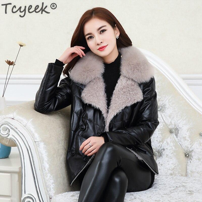 Giacca Lwl1218 Donne Pelliccia Imbottiture Parka Outwear Femminile Genuino  Tcyeek Cappotto Volpe Delle Collare Black Pecora Di Pelle Inverno Della ... 14a02288837