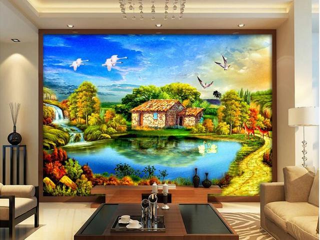 3d room wallpaper custom mural non woven wall sticker hd modern rural houses the swan