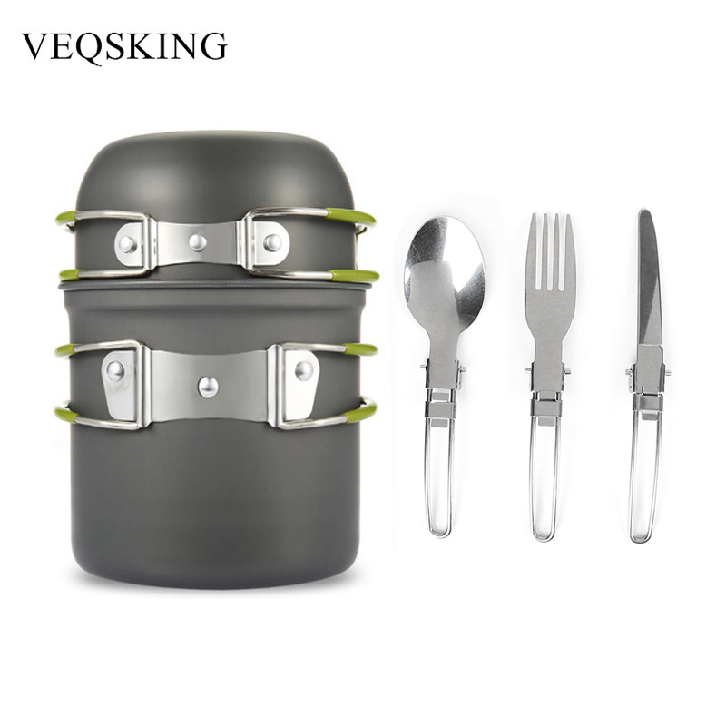 Aluminum Alloy Hiking Picnic Tourist Tableware Set With Folding Spoon Fork Knife Non-stick Pot  sc 1 st  AliExpress.com & Aluminum Alloy Hiking Picnic Tourist Tableware Set With Folding ...