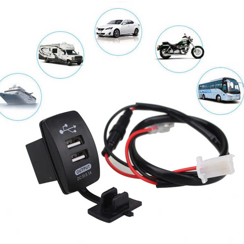 Waterproof 12V-24V Mini Micro Dual USB Plug Car Motorcycle Cigarette Lighter Socket 5V 3.1A Car Charger with Waterproof Panel