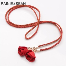 RAINIE SEAN Braided Leather Thin Women Belt Red Self Tie Rose Flower Waist Brand Fashion Pu Ladies Belts