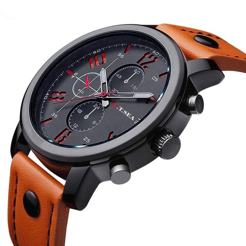 Hot Fashion Top Brand Luxury Military Watches Men Leather Sports Quartz Watch Casual Wristwatch Clock Male Relogio Masculino