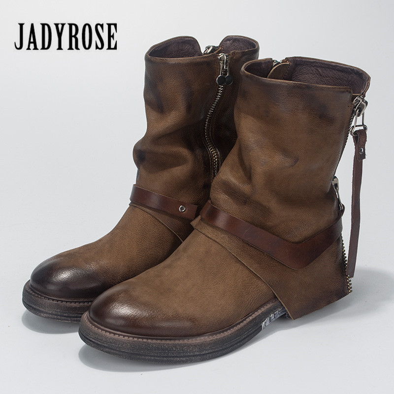 Jady Rose 2018 New Fashion Women Ankle Boots Genuine Leather Autumn Winter High Boots Female Flat Rubber Botas Mujer Platform whensinger 2017 new women fashion boots genuine leather fashion shoes rubber sole hands sewing 2 color 7126