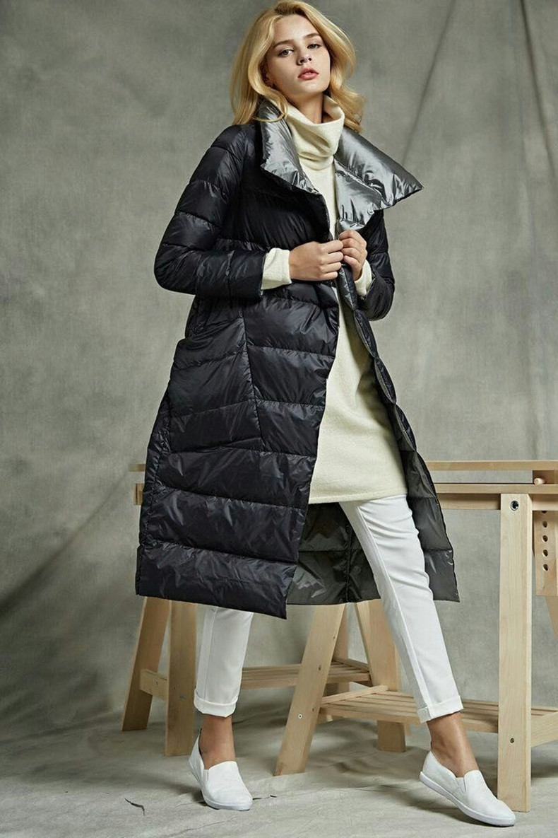 Luzuzi Women Double Sided Down Long Jacket  Winter Turtleneck White Duck Down Coat Double Breasted Warm Padded Parkas Snow coat