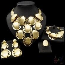 Yulaili Free Shipping 2017 New Arrival Dubai Design Big Pendant 24 Carat Gold Jewelry Set For Ladies