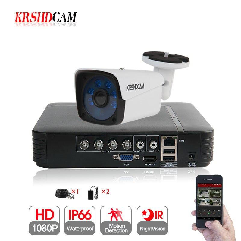 KRSHDCAM 4CH CCTV Системы 1080N 5in1 DVR 1080 P AHD камера 1 шт. 3000TVL Водонепроницаемый Открытый безопасности дома видеонаблюдения комплект