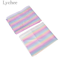 Lychee Life 90x137cm Rainbow Glitter PU Leather Fabric Colorful Synthetic Leather DIY Sewing Material Accessories