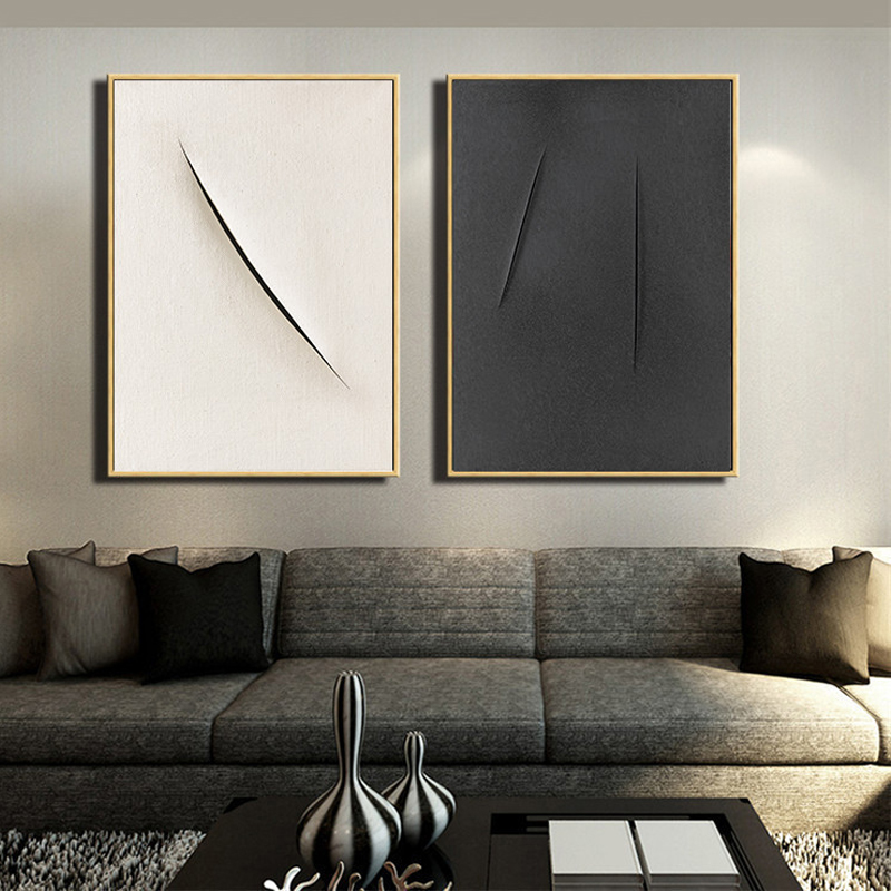 HAOCHU Abstract Modern Wall Poster Canvas Painting White Black Base Unique Pictures For Home