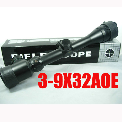 Free 3-9x32 AOE Red & Green Long Range Optical Sight Rifle Scope Military Rangefinder Riflescope For Hunting Target Shooting