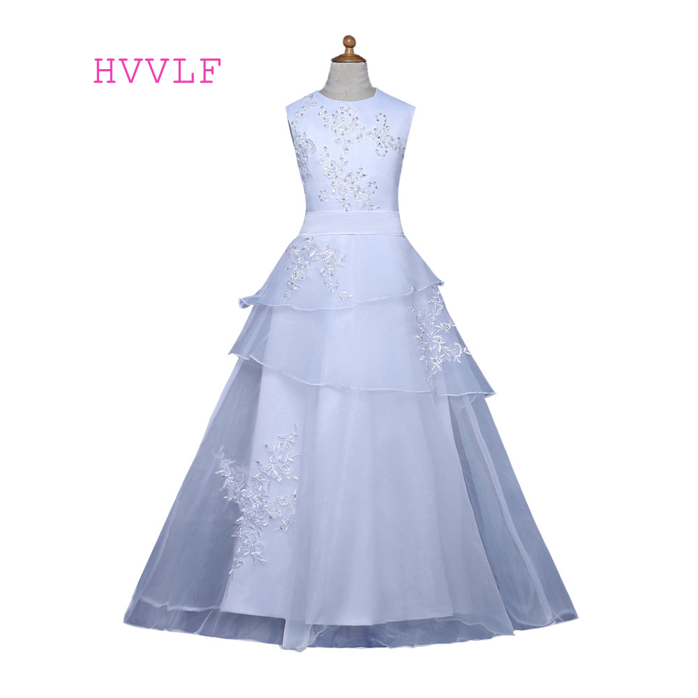 White 2019   Flower     Girl     Dresses   For Weddings A-line Cap Sleeves Appliques Beaded First Communion   Dresses   For Little   Girls