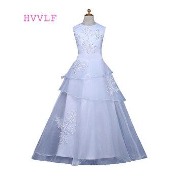 White Flower Girl Dresses For Weddings A-line Cap Sleeves Appliques Beaded First Communion Dresses For Little Girls