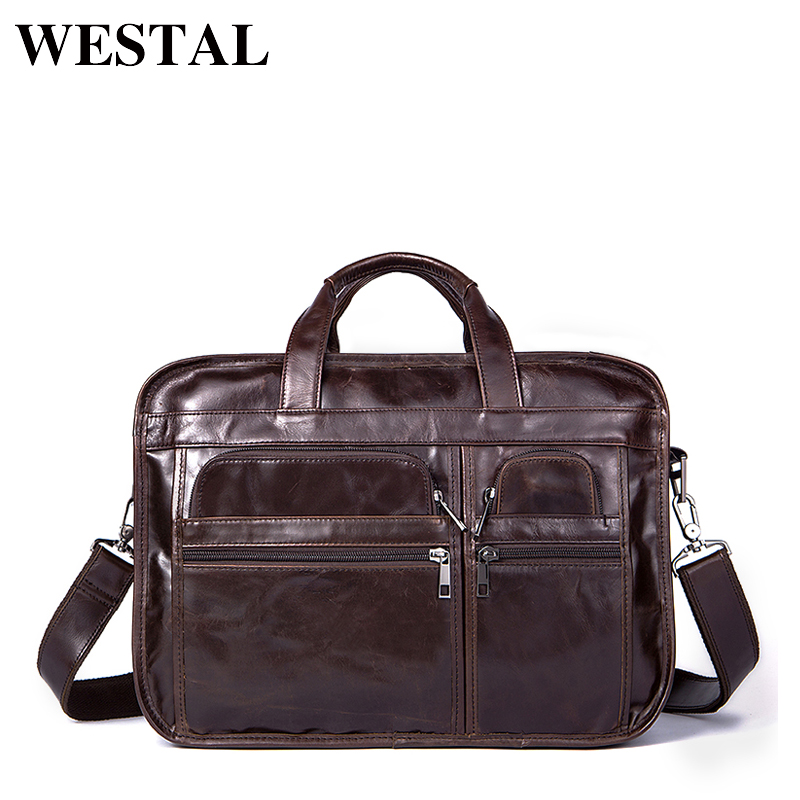 WESTAL Genuine Leather bag Business Men bags male Laptop Tote Briefcase Crossbody bags Shoulder Handbag Men's Messenger Bag 8893 vintage crossbody bag military canvas shoulder bags men messenger bag men casual handbag tote business briefcase for computer
