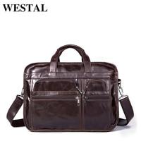 WESTAL Genuine Leather bag Business Men bags male Laptop Tote Briefcase Crossbody bags Shoulder Handbag Men's Messenger Bag 8893