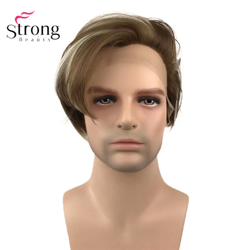 StrongBeauty Synthetic Lace Front Wig Brown With Highlights Wigs For Man Hair Heat Resistant Fiber Black Hair