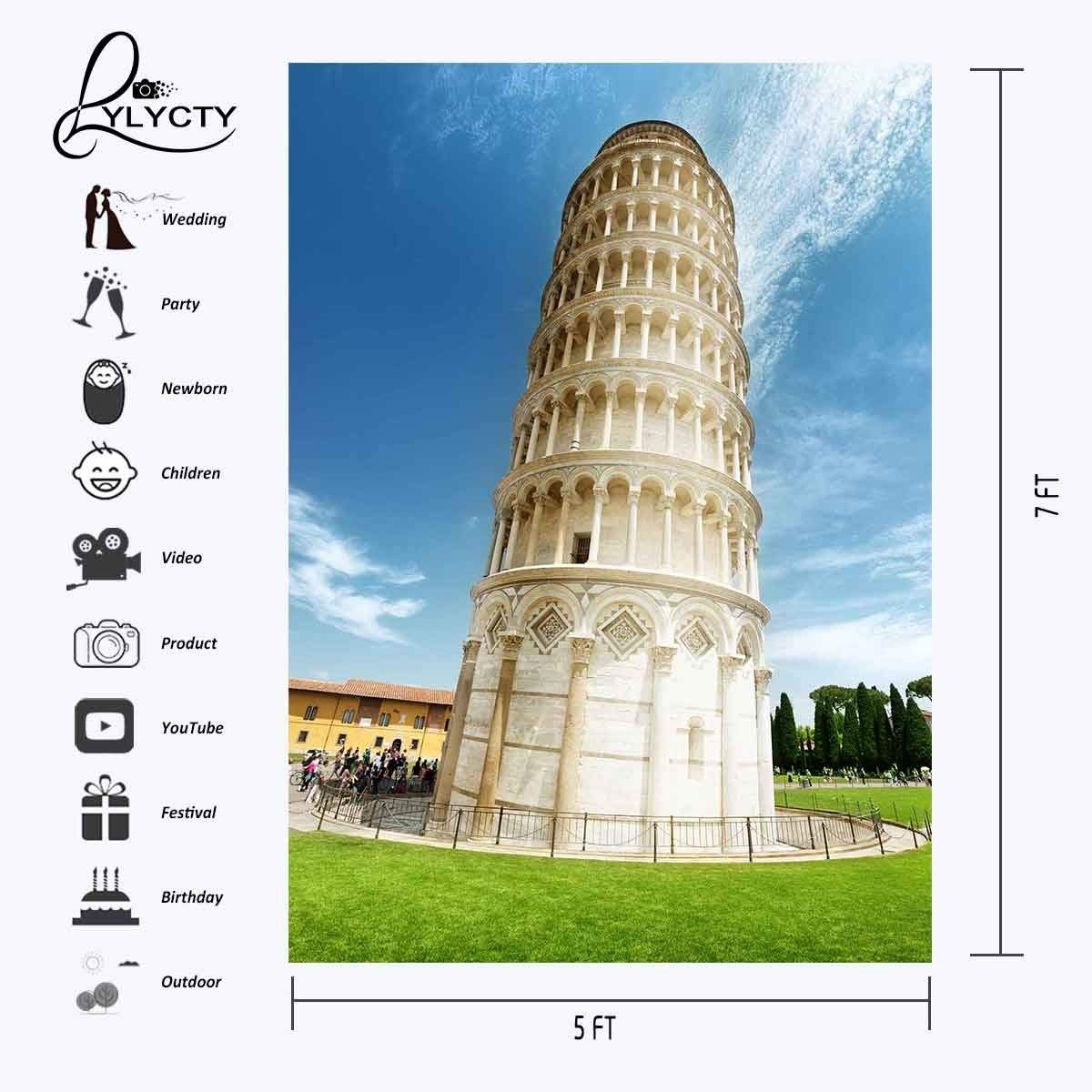 5x7ft Architectural Landscape Backdrop Leaning Tower of Pisa Studio Photography Background Navy Blue Sky Photo Studio Backdrop in Photo Studio Accessories from Consumer Electronics