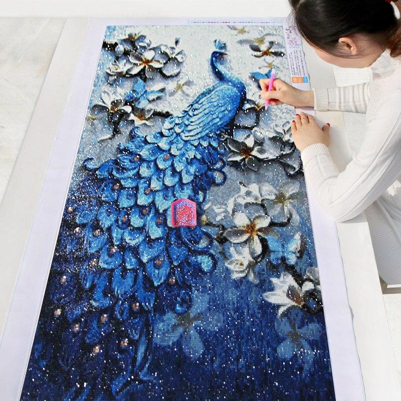 Meian, pintura DIY del diamante, especial diamante accesorios, bordado de diamantes, Animal, pavo real, completo, rhinestone, 5D mosaico de diamantes, decoración