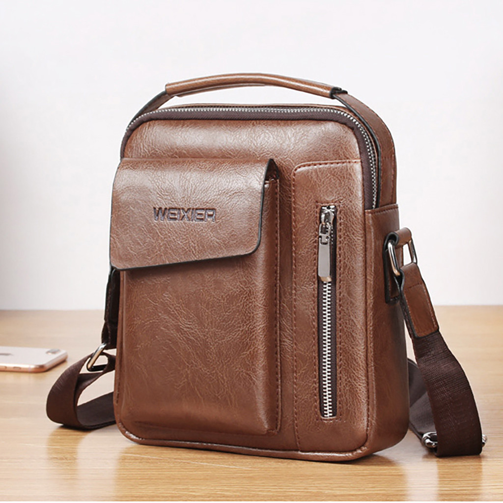 Briefcase Mens Leather Men Vintage Shoulder Bags Crossbody Bags Retro Zipper Handbags