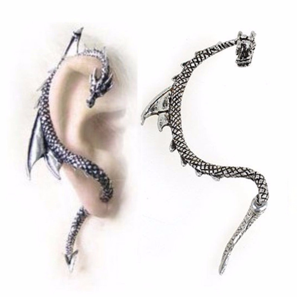 punk exaggerated crystal lizard gecko dragon bite clip earrings