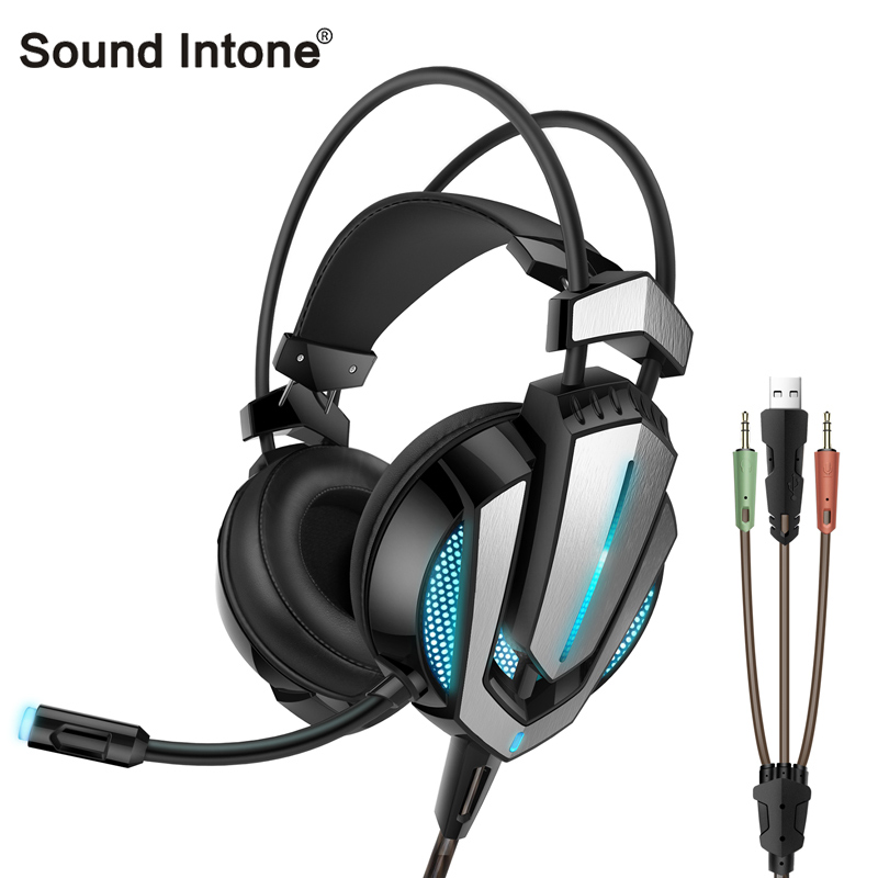 Sound Intone G9 Gaming Headsets Wired Headphones with Mic Volume Control Noise Cancelling with LED light and shock for PC game