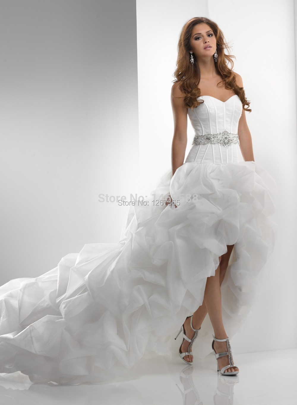 7eb160be3fbbc Catherine Sweetheart High/Low Wedding Dresses with Chapel Train ...