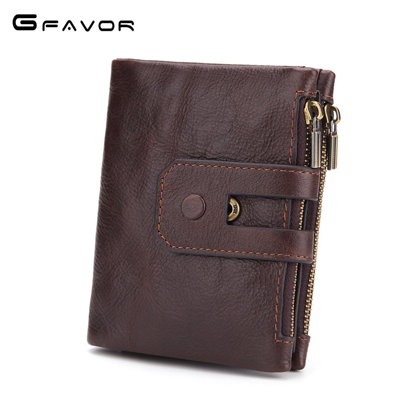 Genuine Leather Men Wallet Small 2018 New Men Walet Zipper&Hasp Male Portomonee Short Coin Purse Brand Perse Carteira For Rfid