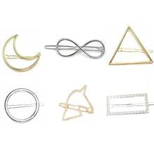 Hollow Metallic Moon Horse Triangle Lip etc Golden Silver Hair Clips and Pins Girls Women Fashion Barrettes Headwear недорого
