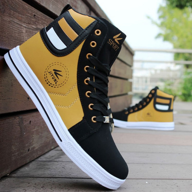 Men's Casual Skateboarding Shoes High Top Sneakers Breathable Street Shoes Sports Shoes Hip Hop Walking Shoes