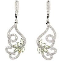 Elegant Drop Tanzanite White CZ Woman S Girls Wedding 925 Silver Earrings Gift