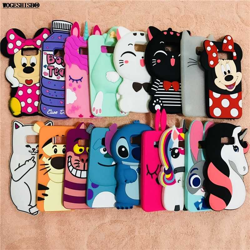 3D Kartun Silikon Case untuk Samsung Galaxy S4 S5 S6 S7 Edge S8 Plus Minnie Kucing Rabbite Kelinci Unicorn stitch Penutup Botol