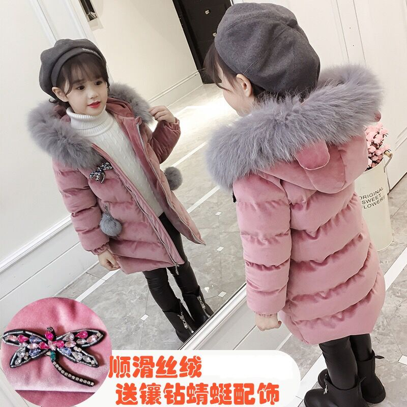 Brand New Children Cold Winter down Girls Thickening Warm Down Jackets Boys long Big Fur Hooded Outerwear Coats Kids Down Jacket купить недорого в Москве