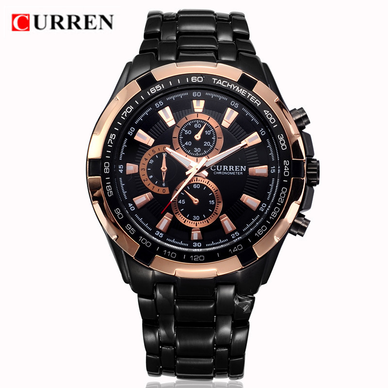 CURREN Men Watches Top Brand Luxury Gold Black Quartz Watch Man Military Sport Clock Male Fashion Wristwatch Relogio Masculino curren 8023 mens watches top brand luxury stainless steel quartz men watch military sport clock man wristwatch relogio masculino