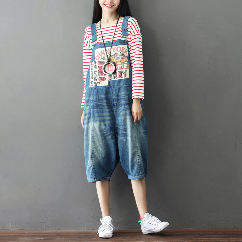162e9674e Summer Casual Harajuku Hippie Boho Harem Pantalones Overalls Playsuits Jump  Suits Loose Denim Jeans Pants for