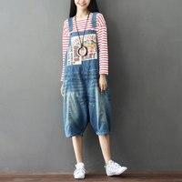 Summer Casual Harajuku Hippie Boho Harem Pantalones Overalls Playsuits Jump Suits Loose Denim Jeans Pants for Women Trousers