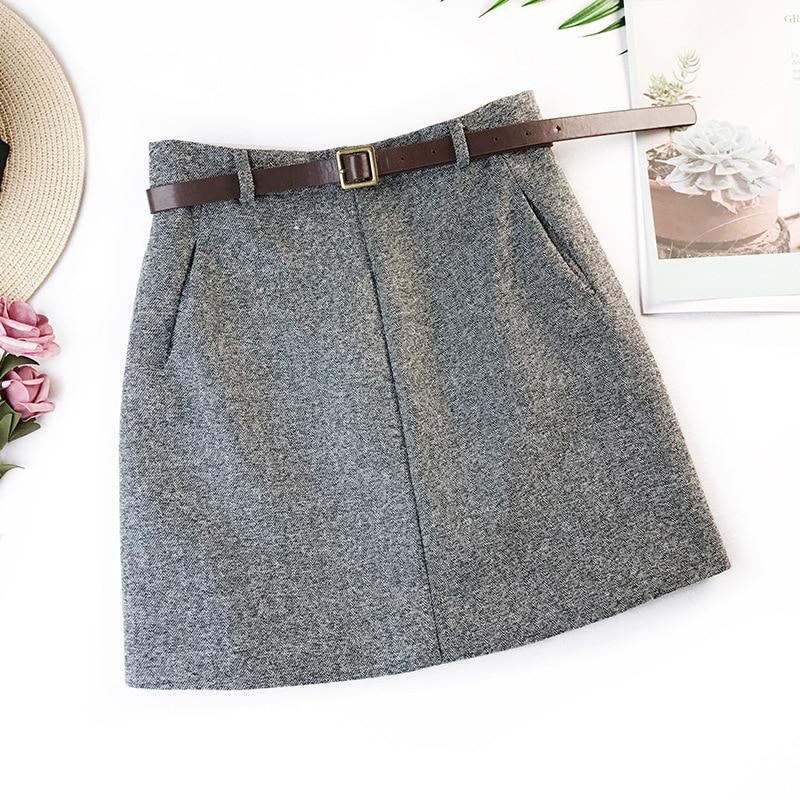 2019 printemps nouveauté Vintage tempérament taille haute a-ligne jupes de bureau femmes avec ceinture en laine Mini jupe livraison gratuite