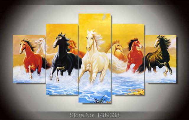5 sets Colorful Running Horse Print Painting Modern Canvas Wall Art ...
