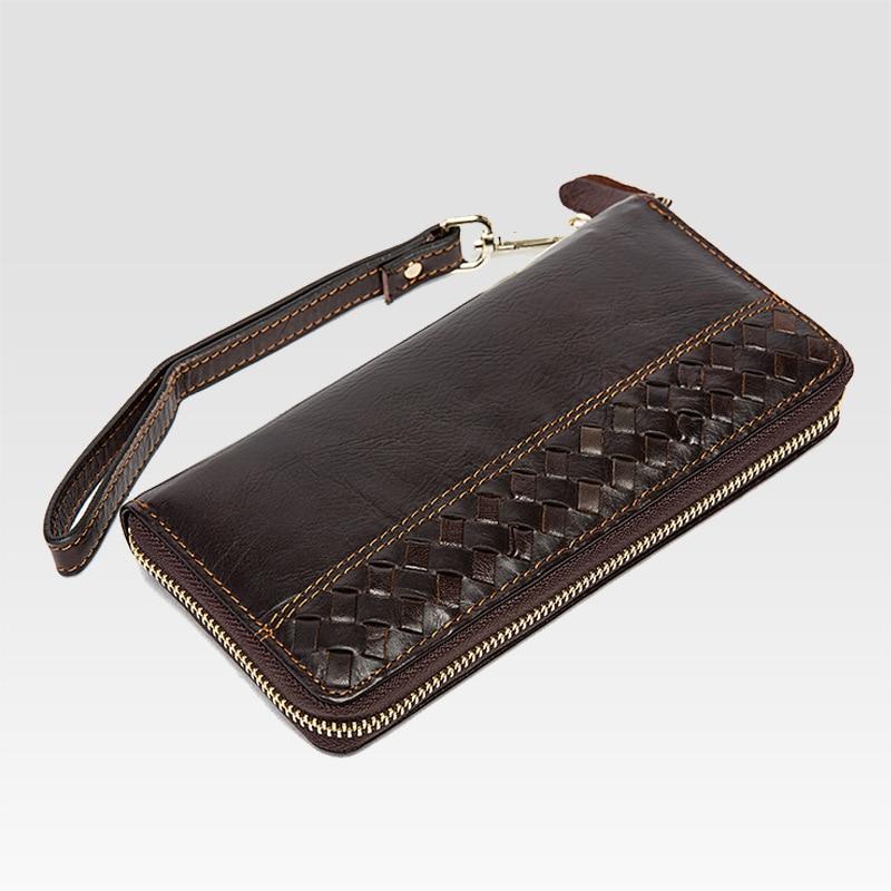 Мужская мода кожаный бумажник бизнес тканые кожаный кошелек кошелек длинный кожаный сцепления рук сумку